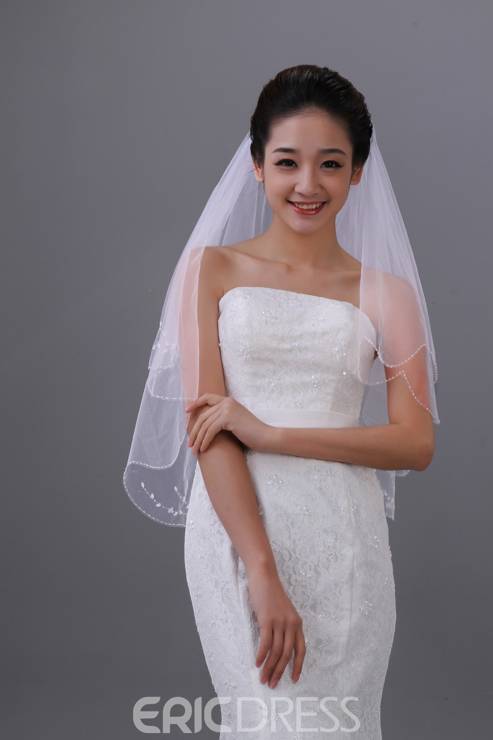 Elegant Single Yarn Two Layers Elbow Wedding Veil