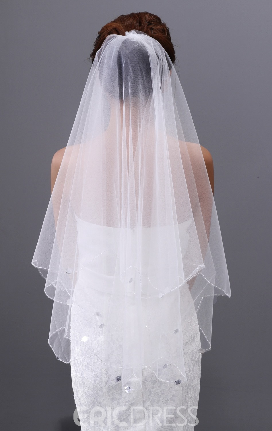 Cute Single Yarn Elbow Wedding Brail Veil with Beads