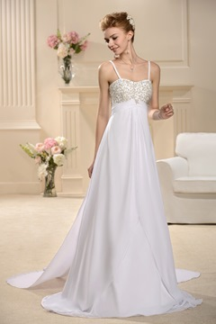 Fabulous A-Line Empire Spaghetti Straps Wedding Dress