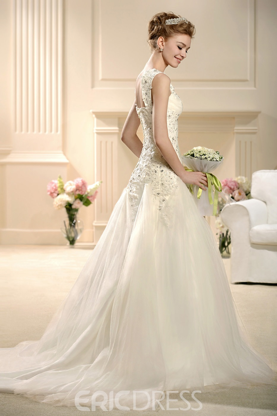 Charming A-Line Embroidery Informal Chapel Train Wedding Dress