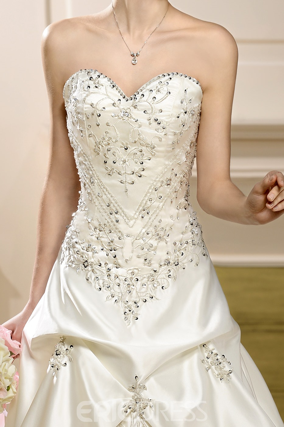 Gorgeous Sleeveless Embroidery Sweep A-Line Sweetheart Wedding Dress