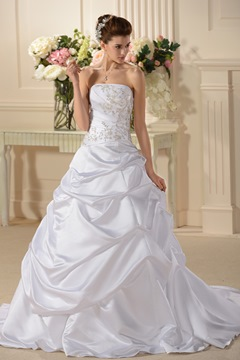 Fancy A Line/Princess Strapless Chapel Train Wedding Dress (WEDS0010)