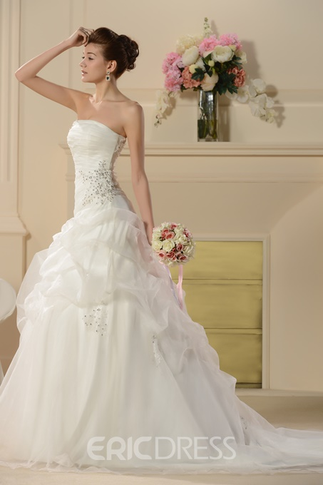 Dramatic A-Line Strapless Embroidering Chapel Train Wedding Dress
