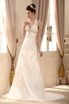 Fancy Lace Halter V Neck Chapel Train Embroidering Beading Wedding Dress