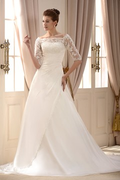Attractive A-Line/Princess Off the Shoulder Chapel Train Pleats Beading Wedding Dress