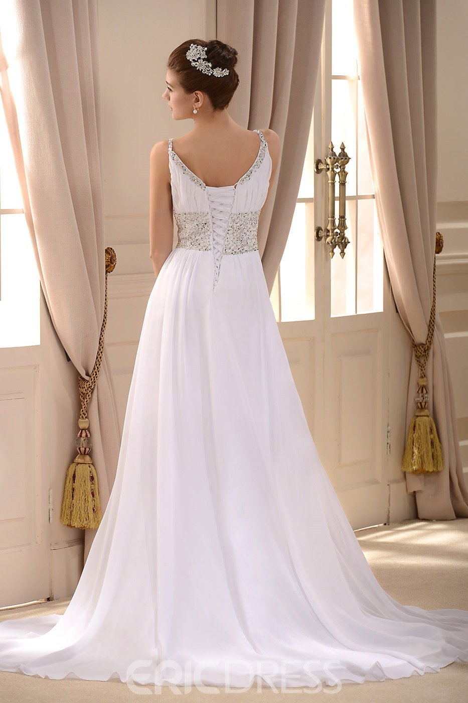 Empire Spaghetti Straps Sleeveless Beaded Court Train Wedding Dress