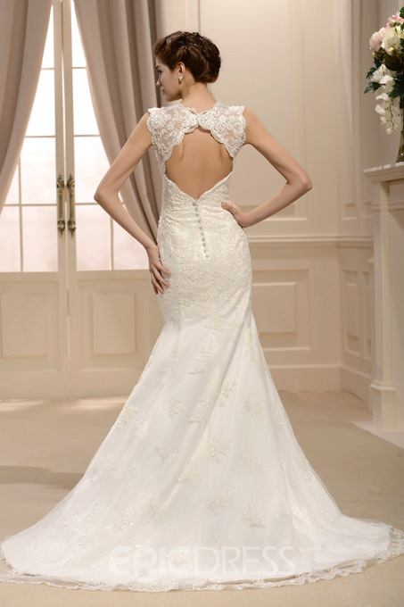 Hot Sale Trumpet/Mermaid Straps Floor-Length Chapel Applique Lace Wedding Dress