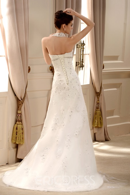 Lace Halter V Neck A Line Wedding Dress