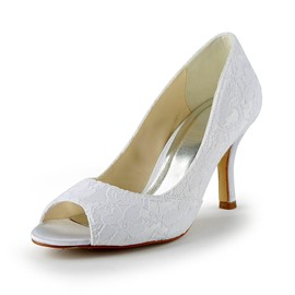 Pretty Satin Stiletto Heels Peep-toe Lace Wedding Shoes