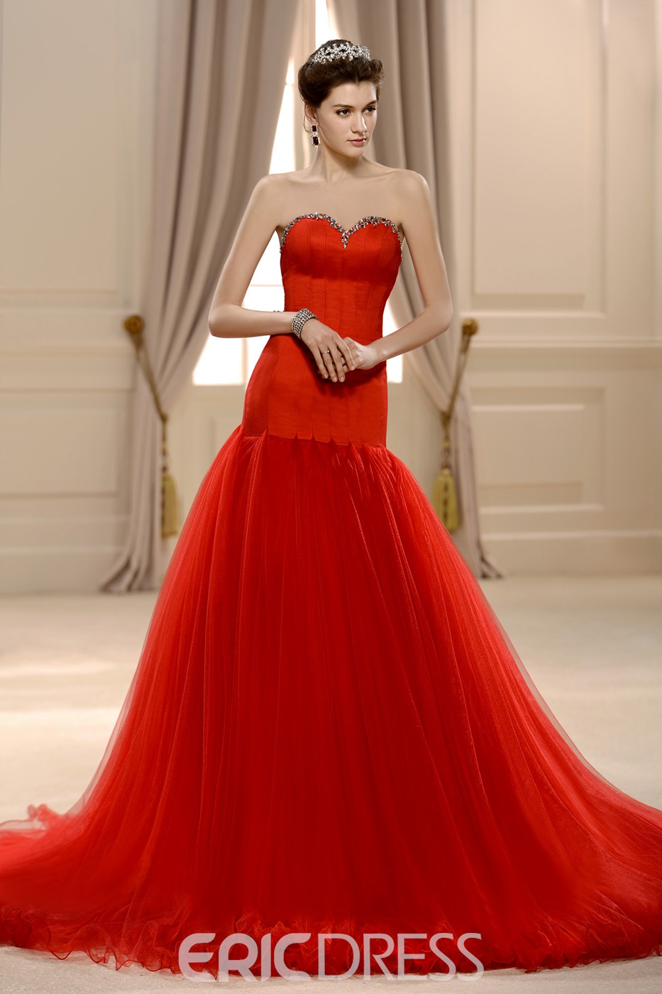 Amazing Trumpet/Mermaid Sweetheart Floor-Length Beading Chapel Ruffles Wedding Dress