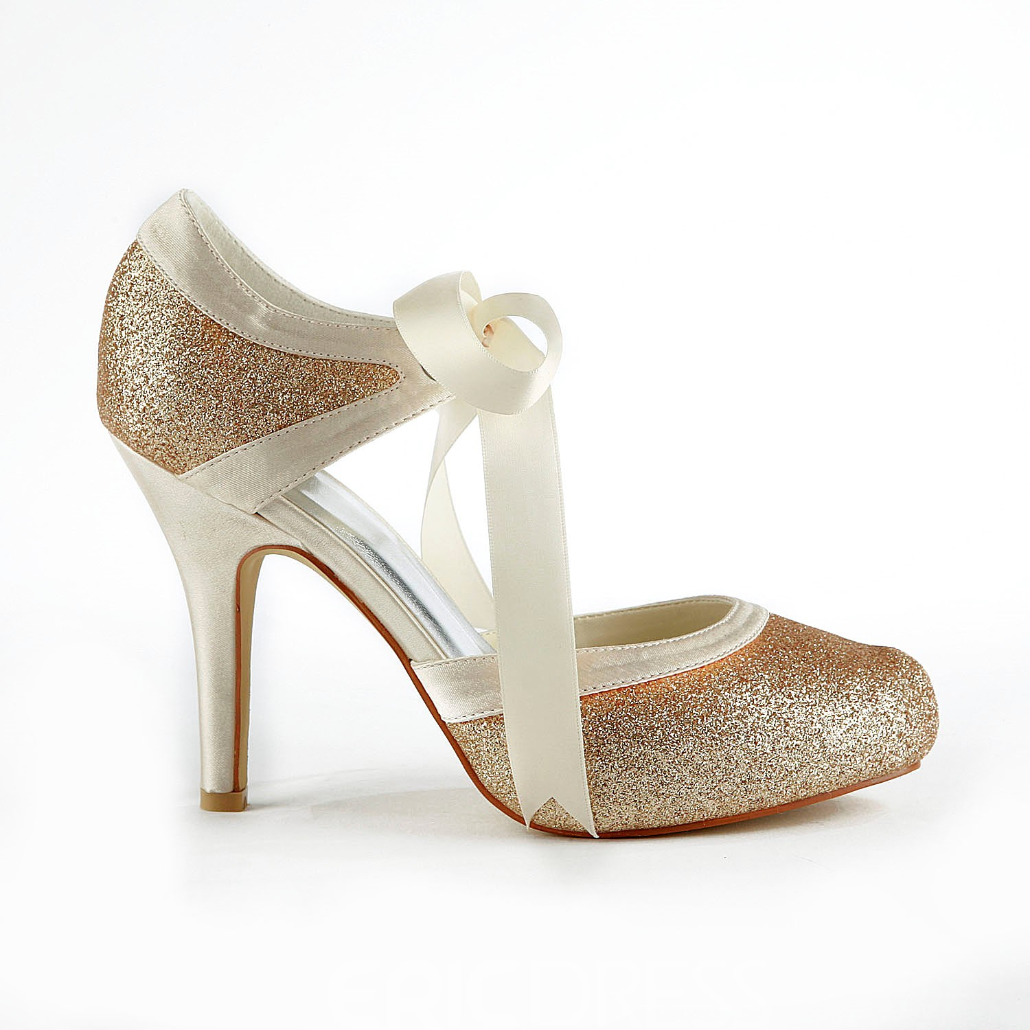 Champagne Stiletto Heels Closed-toe Wedding Shoes
