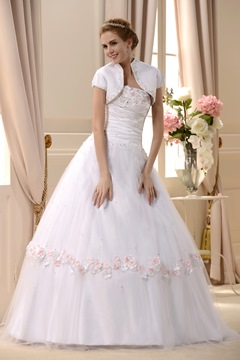 Amazing Strapless Floor-length Beaded Wedding Dress With Jacket/Shawl