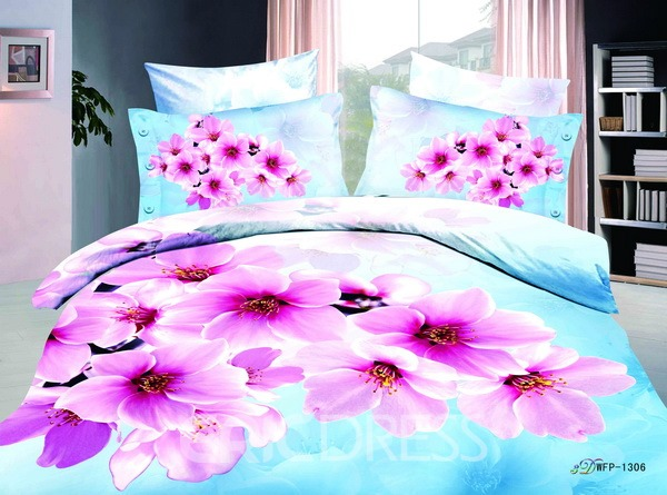 light blue florals printed 4 piece cotton bedding sets 10564377