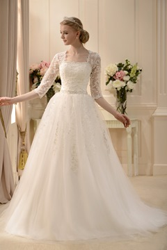 A-line Square 3/4-Length Sleeves Wedding Dress