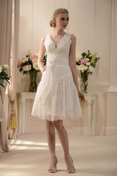 Fabulous V-neck Knee-Length Sash Lace Flowers Wedding Dress