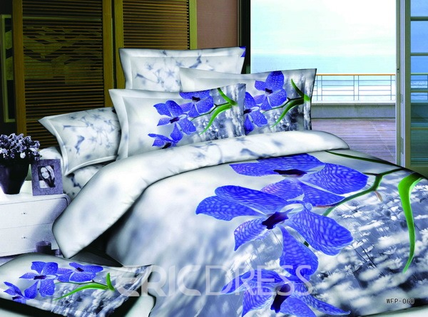 Best Selling Colorful Florals Printed 4 Piece Cotton Bedding Sets 10564287