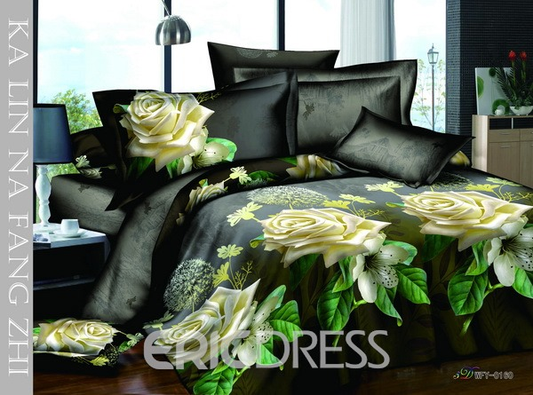4 Piece Yellow Florals Print Bedding Sets with Cotton 10564361