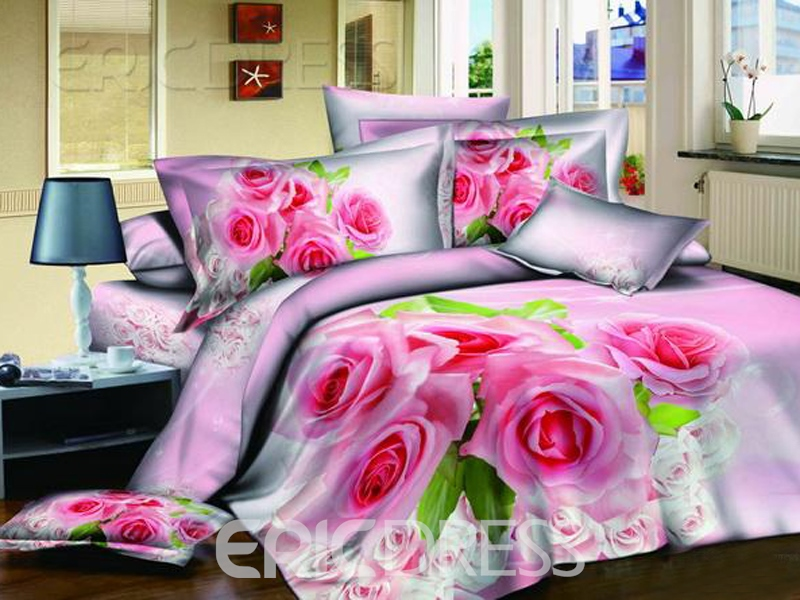 Adorable Pink 4-Piece Cotton Sets With Floral Printing 10564396