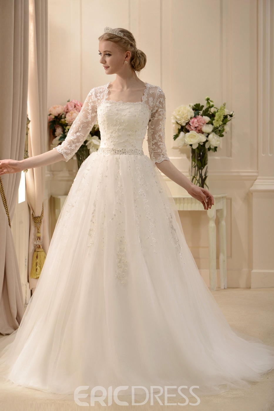 Elaborate A-line Square 3/4-Length Sleeves Floor-length Beaded Wedding Dress