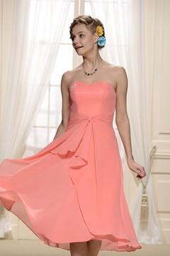 Charming Tiered Pleats Sweetheart Neckline Bridesmaid Dress