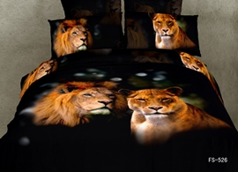 Vivilinene 3D A Couple of Lions Printed Cotton 4-Piece Black Bedding Sets/Duvet Covers