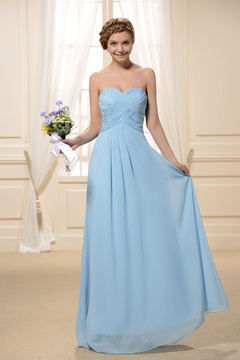 Fashionable Pleats A-Line Sweetheart Neckline Long Chiffon Bridesmaid Dress