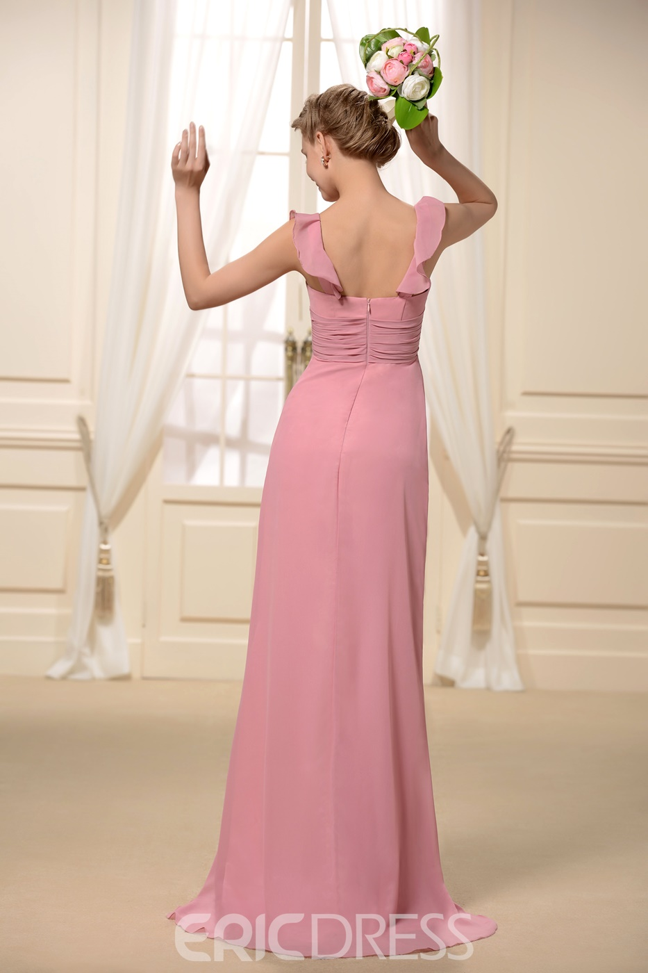 Spice Radiant Ruffled V-Neck Sleeveless Floor-Length Bridesmaid Dress