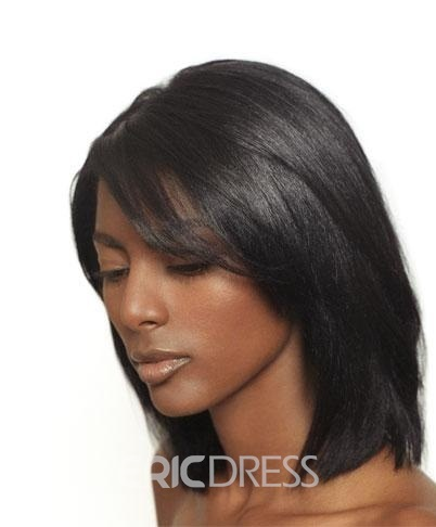 Ericdress Medium Straight Human Hair Lace Front Wigs 12 Inches 13331562