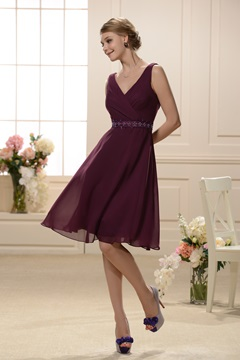 Classy V-neckline Sleeveless Knee Length Bridesmaid Dress