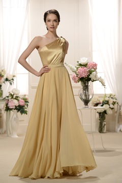Attractive Pleats A-Line One-Shoulder long Bridesmaid Dress