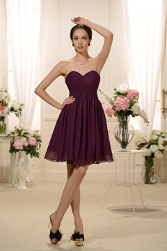 Classy A-Line Sweetheart Neckline Knee-Length Bridesmaid Dress