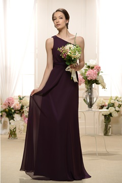 Attractive A-line One-Shoulder Floor-length Bridesmaid Dress