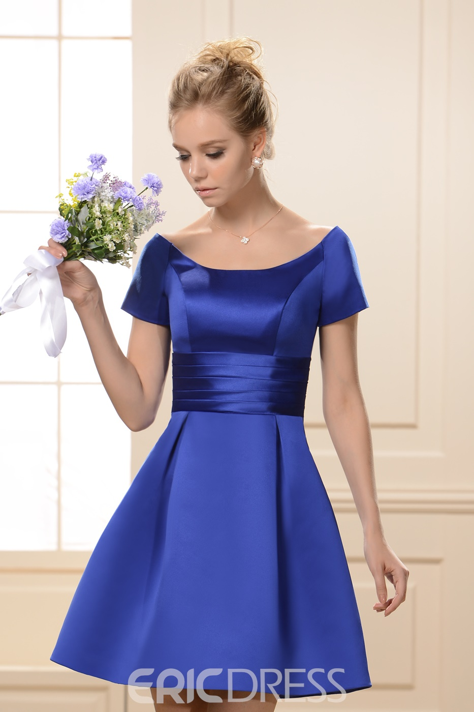 Princess A-Line Scoop Neckline Short Sleeves Knee-Length Bridesmaid Dress