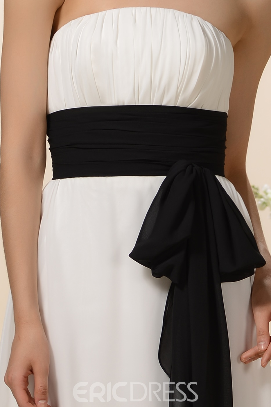 Charming Ribbons Empire Waist Strapless Floor-Length Bridesmaid Dress
