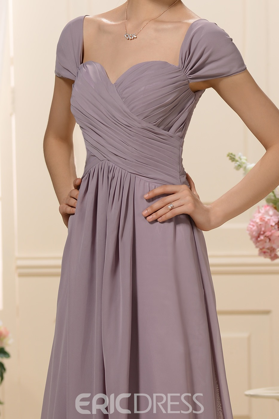 Graceful Pleats A-Line Off-the-Shoulder Bridesmaid Dress