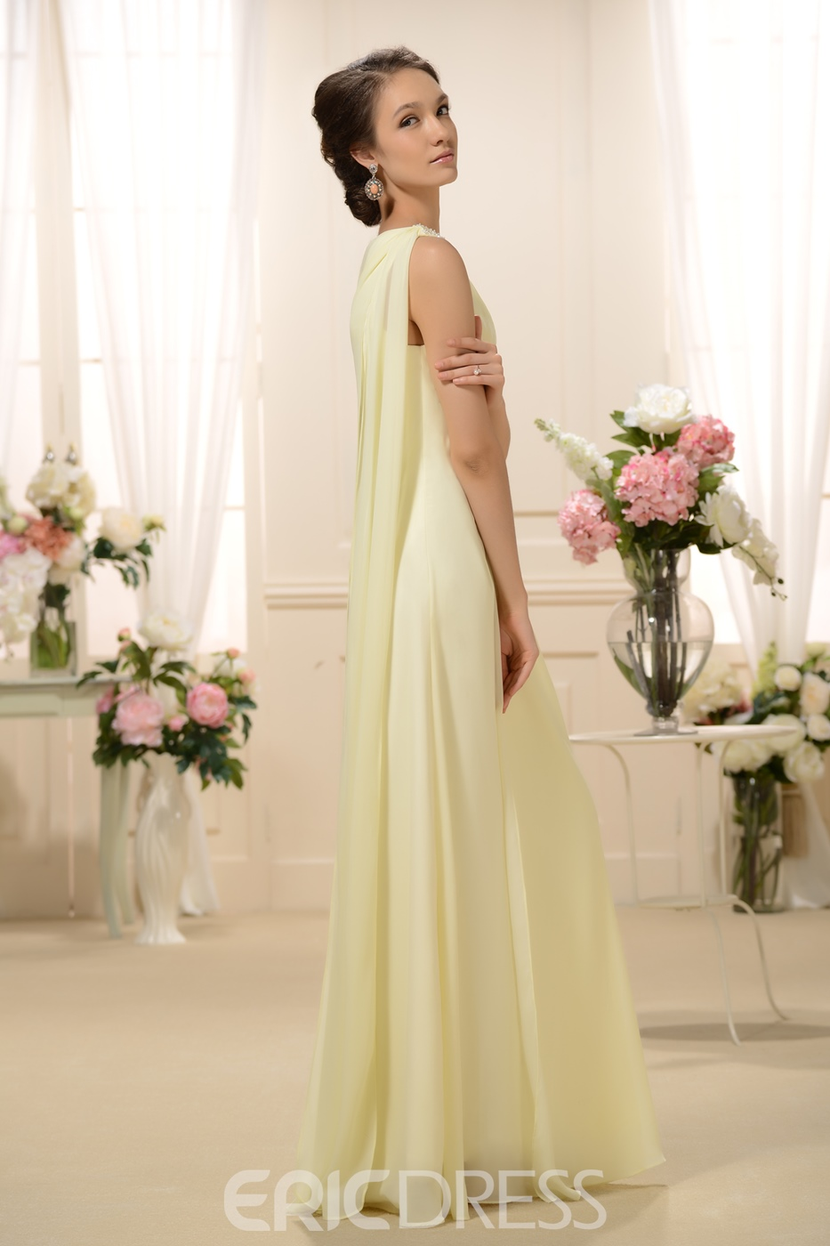 Charming Sashes Beaded Column Floor-Length One-Shoulder Bridesmaid Dress