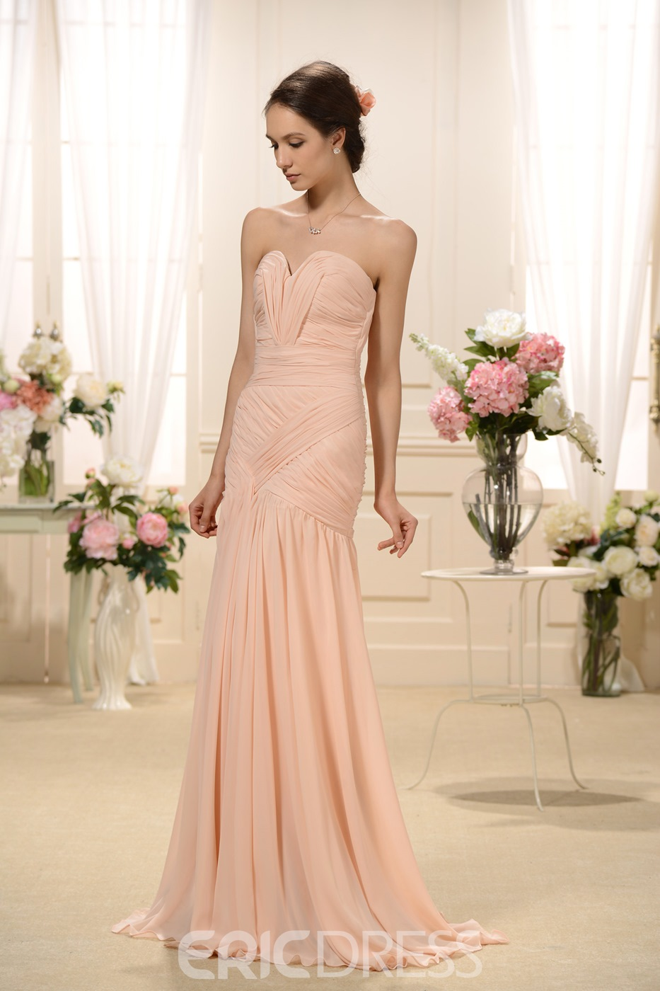 Classy Pleats Split-front Trumpet/Mermaid Sweetheart Neckline Floor-Length Bridesmaid Dress