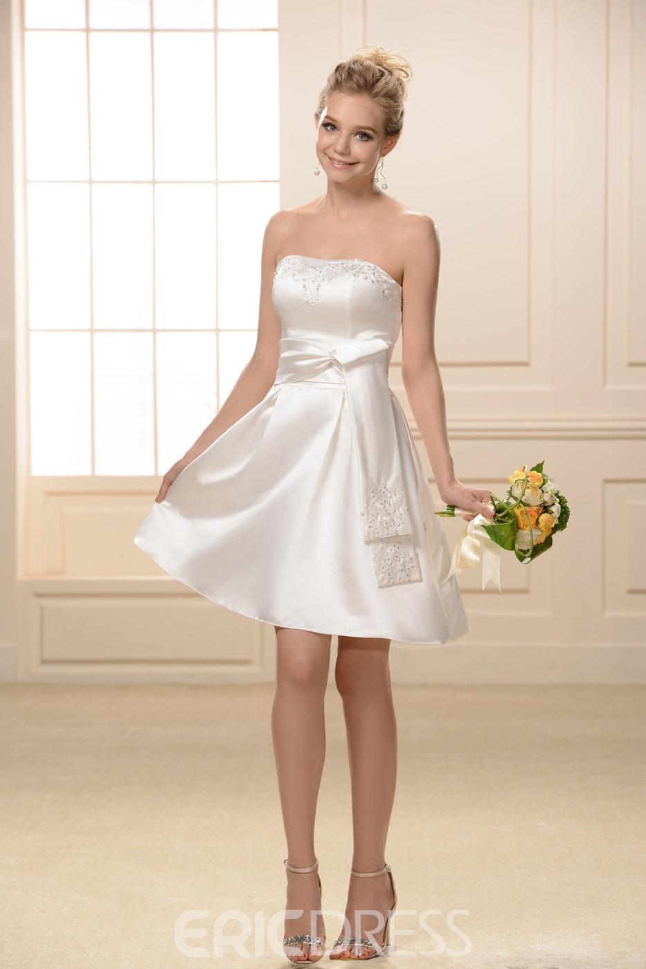 Beaded Sashes/Ribbons A-Line Sweetheart Neckline Knee-Length Bridesmaid Dress