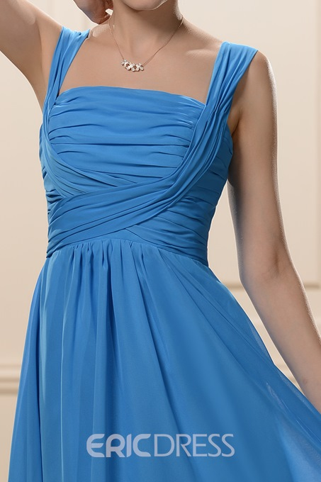Knee-Length Square Neckline A-Line Bridesmaid Dress