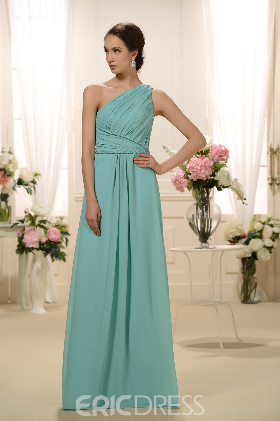 Incredible Pleatss A-Line One-Shoulder Floor-Length Bridesmaid Dress