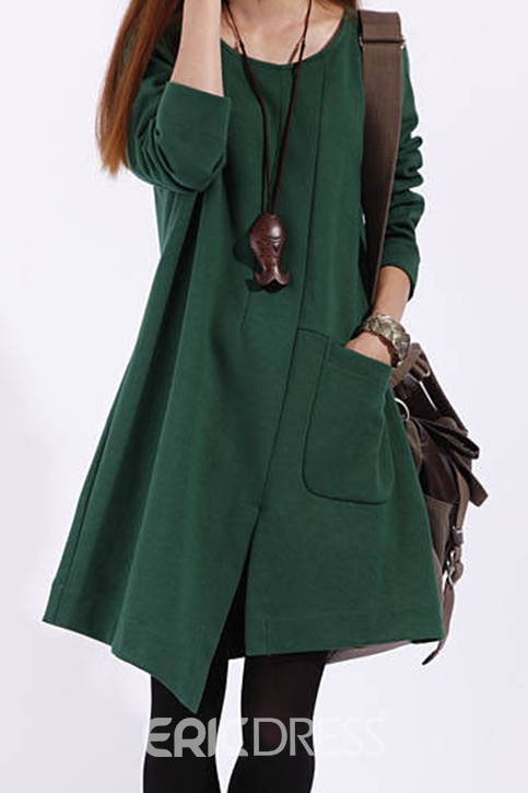 Pure Color Asymmetrical Split Pocket Casual Dress