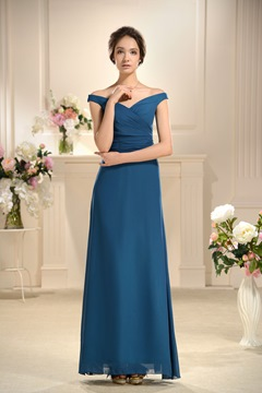 Spezielle a-Linie bodenlanges Off-the-Shoulder Brautjungfern Kleid