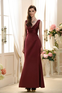 Glamorous V Neck Sheat/Column Sleeveless Floor-length Formal Evening Dress