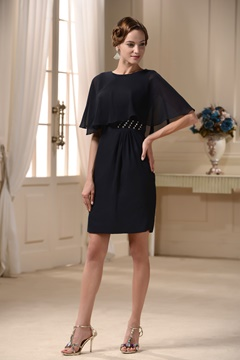 Popular Cape Bateau Knee-length Mother of the Bride Dress