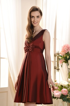 A-Line V-Neck Knee-Length Bridesmaid Dress