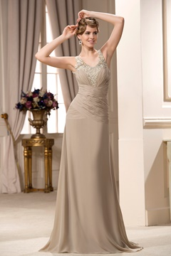 Charming A-Line Applique Floor-length V-Neck Mother of the Bride Dress