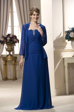 Charming Strapless A-Line Floor-Length Beading Pleats Mother of the Bride Dress
