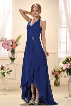 Unique A-Line Asymmetry Length Halter Bridesmaid Dress