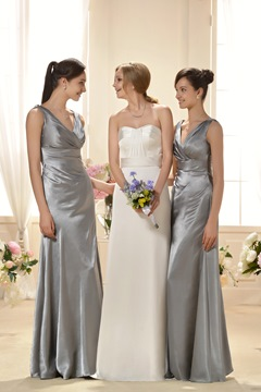 Luxurious Draped Sheath/Column V-Neck Floor-Length Bridesmaid Dress