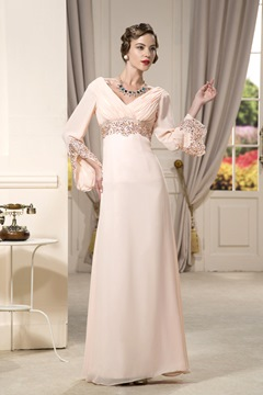 A-Line Floor-Length Empire Waistline Evening/Party Dress